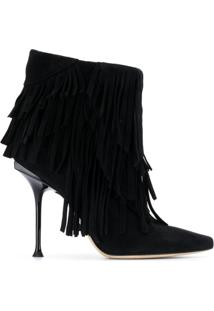 Sergio Rossi Fringed Ankle Boots - Preto