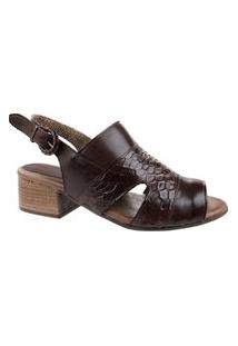 Sandália Open Boot Miss Western Texture Brown - Marrom