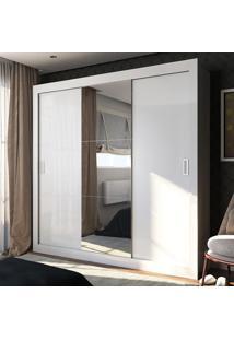 Guarda-Roupa Casal 2 Metros 3 Portas De Correr Com Espelho Roma Ultra Branco - Pnr Móveis