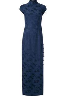 Shanghai Tang Vestido Longo Qipao Jacquard - Azul