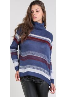Suéter Feminino Amplo Em Tricô Listrado Gola Rolê Azul