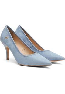 Scarpin Feminino Camurça Candy Color Bico Fino Salto Médio - Feminino-Azul