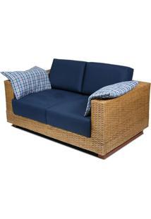 Sofa Salinas 2 Lugares Assento Cor Azul Marinho Com Base Madeira Revestida Em Junco - 44784 - Sun House