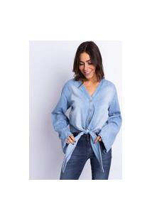 Blusa Feminina Jeans Lavagem Clara
