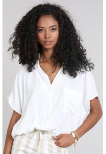 Camisa Feminina Ampla Com Bolso Manga Curta Off White