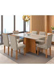 Conjunto De Mesa De Jantar Com Tampo De Vidro Ana E 6 Cadeiras Amanda Ii Animalle Off White E Cinza