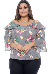 Blusa Xadrez Plus Size