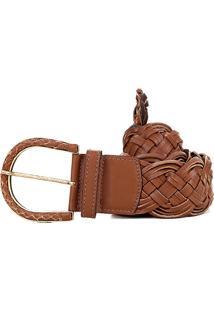 Cinto Couro Shoestock Tressê Handmade Feminino - Feminino-Caramelo