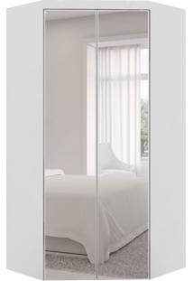 Guarda-Roupa Closet Modulado Virtual Com Espelho 2 Pt 3 Gv Branco Fosco E Amadeirado