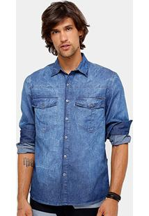 Camisa Jeans Ellus Classic Straigt Stone Masculina - Masculino
