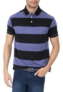 Camisa Polo Masculina Lilás Listrada - M