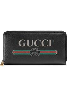 Gucci Carteira Com Logo E Zíper - Preto