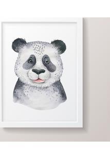 Quadro Decorativo Panda Moldura Branca