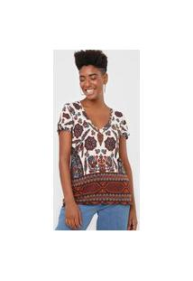 Blusa Desigual Benin Off-White/Vinho
