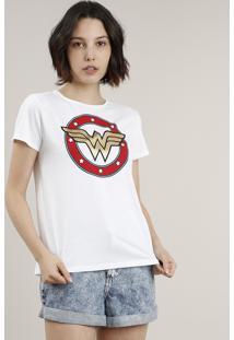 Blusa Feminina Mulher Maravilha Manga Curta Decote Redondo Off White
