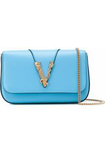 Versace Bolsa Transversal Virtus - Azul