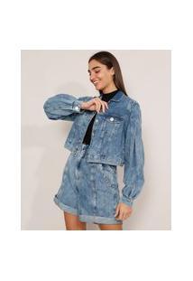 Jaqueta Cropped Jeans Marmorizada Com Bolsos Manga Bufante Azul Médio