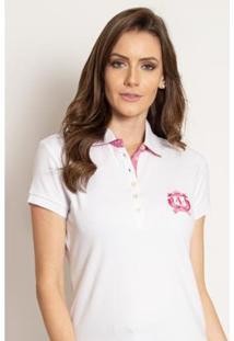 Camisa Polo Aleatory Feminina Piquet Lisa Candy - Feminino-Branco