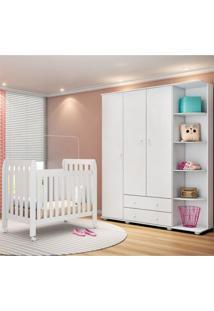 Quarto De Bebê Guarda Roupa Lorena E Berço Lollipop Branco - Phoenix