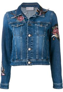 Red Valentino Jaqueta Jeans Com Aplicação Floral - Azul