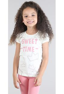 "Blusa "" Sweet Time"" Com Estampa De Coroas Com Glitter Off White"
