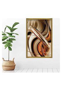 Quadro Love Decor Com Moldura Abstrato Dourado Grande