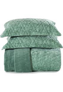 Jogo De Colcha Queen Altenburg Blend Fashion Plush Concept - Verde