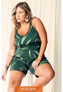 Macaquinho Plus Size Estampado Verde