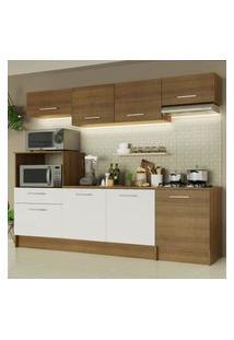Cozinha Completa Madesa Onix 240003 Com Armário E Balcáo - Rustic/Branco 5Z6E Marrom