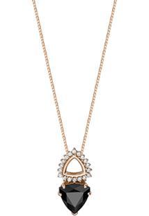 Pingente Ouro Rosã© Quartzo Negro E Diamantes