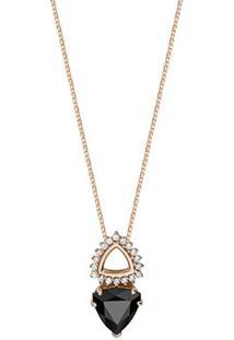 Pingente Ouro Rosé Quartzo Negro E Diamantes
