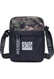 Shoulder Bag Kings Sneakers Bolsa Transvesal Masculina - Masculino-Preto+Verde