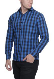 Camisa Alfaiataria Burguesia Quadriculada Azul/Preto