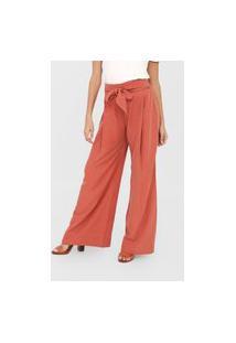 Calça Cantão Pantalona Amarração Laranja