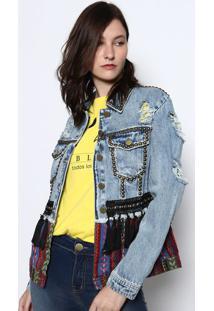 Jaqueta Jeans Étnica Com Rebites- Azul & Vermelhadimy