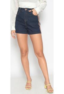 Bermuda Jeans Com Faixas- Azul & Marrom Claro- Gata Gatabakana