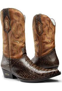 Bota Texana Country Capelli Boots Jacaré Couro Com Detalhes Costura Masculina - Masculino-Café