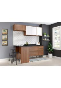 Cozinha Completa 5 Módulos 6 Portas Calábria Multimóveis Nogueira/Branco Texturizado