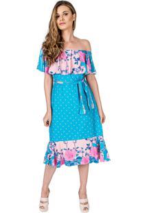 Vestido Midi Carbella Babados Floral Azul Viscolycra Barra