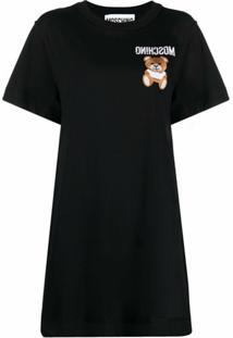 Moschino Vestido Com Bordado Teddy Bear - Preto