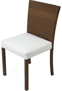 Cadeira Dixon Revestida Em Fibra Sintentica E Assento Cor Branco Com Base Aluminio - 44539 - Sun House