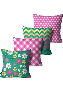 Kit Com 4 Capas Para Almofadas Pump Up Decorativas Rosa Flores Poá Chevron 45X45Cm
