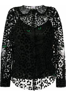 Redvalentino Blusa Translúcida Com Padronagem De Leopardo - Preto