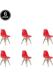 Kit 06 Cadeiras Eiffel S/ Braço Vermelha Rivatti