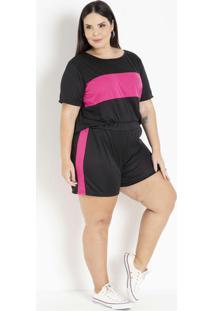 Conjunto Preto E Pink Com Recortes Plus Size