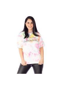 Camiseta Maranne Manga Curta Em Moletinho Tie Dye
