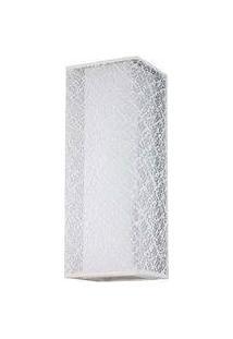 Arandela Lace Cupula Quadrada Tecido Branco 1E27 40Cm Bronzearte