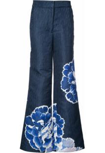 Josie Natori Calça Flare - Azul
