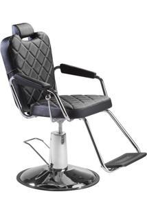 Cadeira Para Salão E Barbeiro Dompel Reclinável Preta Plus