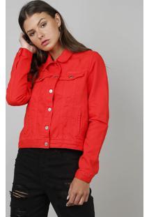 Jaqueta Em Sarja Feminina Com Rasgos Vermelha